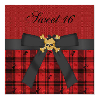 Sweet 16 Gold Skull Black & Red Party Invites