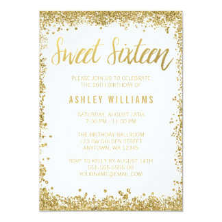 Sweet 16 Gold White Faux Glitter Birthday 5x7 Paper Invitation Card