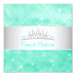 Sweet 16 Green Glitter Silver Jewel Tiara Party 16 5.25x5.25 Square Paper Invitation Card