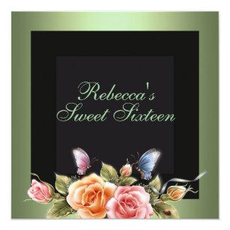 Sweet 16 Green Rose Flower Birthday Invite