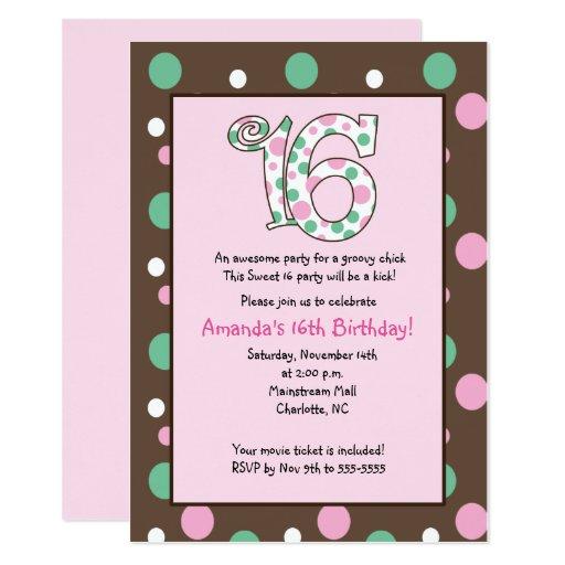 Sweet 16 Groovy Pink Brown Girl Birthday Card