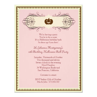 Sweet 16 Halloween Ball Costume Party Card