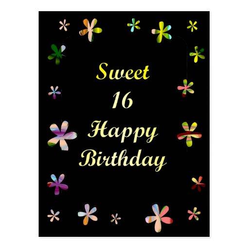 Sweet 16 Happy Birthday Post Cards