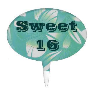 Sweet 16 Hawaiian Turquoise Cake Pick