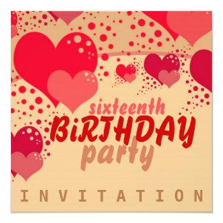 Sweet 16 Hearts Birthday Invitation