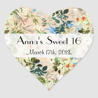 Sweet 16 - Hibiscus, Orchid, Rosebuds - White Blue Heart Sticker