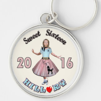 Sweet '16 Hillary for President Silver-Colored Round Keychain