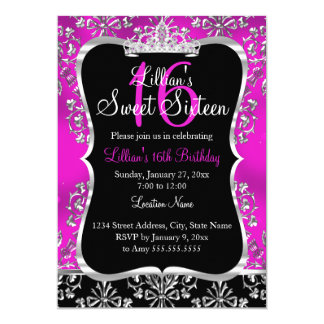 Sweet 16 Hot Pink Black Damask Tiara Invitation