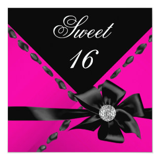 Sweet 16 Hot Pink Bow Black Birthday Party Custom Announcement