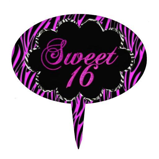Sweet 16 Hot Pink Zebra Black White For Cake Cake Picks