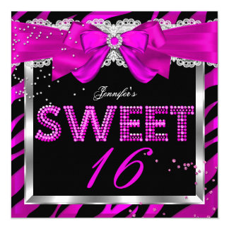 Sweet 16 Hot Pink Zebra Glitter Glam Birthday Card