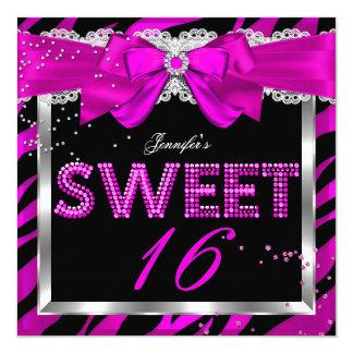 Sweet 16 Hot Pink Zebra Glitter Glam Birthday Card