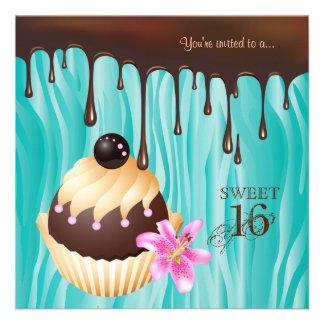 Sweet 16 Invitation Chocolate Cupcake Blue