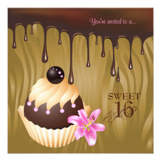 Sweet 16 Invitation Chocolate Cupcake Caramel