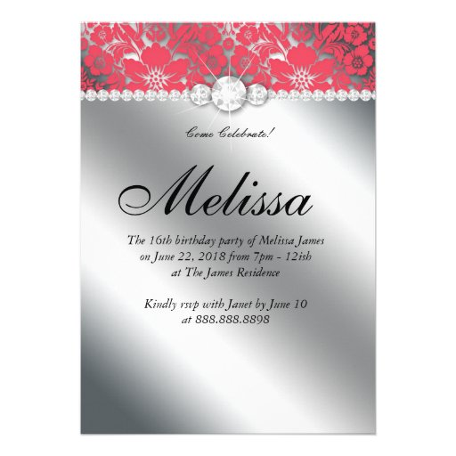 Sweet 16 Invitation Floral Damask Coral Silver