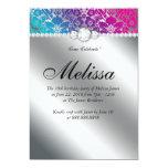 Sweet 16 Invitation Floral Damask Pink Blue Silver