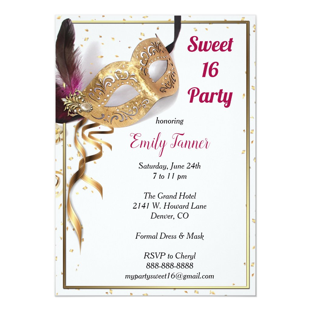 Sweet 16 Invitation Gold Glitter Mask