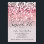 """Sweet 16 Invitation Pink glitter ombre modern card<br><div class=""""desc"""">A modern Sweet 16 invitation with glitter ombre effect. Exceptional quality and easily customizable with your own wording,  they are sure to leave a lasting impression with your guests.</div>"""