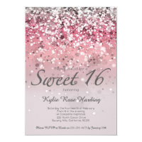 Sweet 16 Invitation Pink glitter ombre modern card