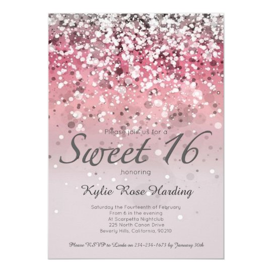 Sweet 16 Invitation Pink Glitter Ombre Modern Card Zazzle Com