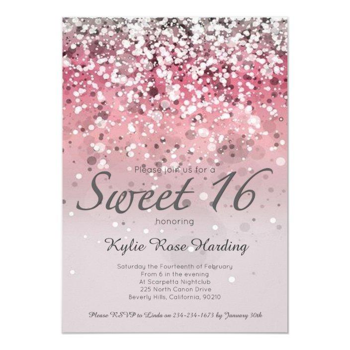 Sweet 16 Invitation Pink Glitter Ombre