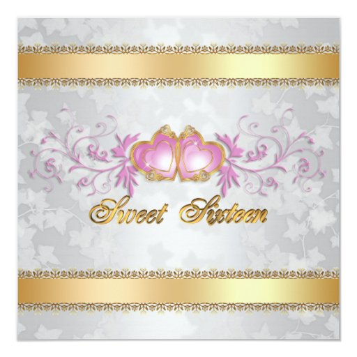 Sweet 16 Invitation satin-look with pink hearts