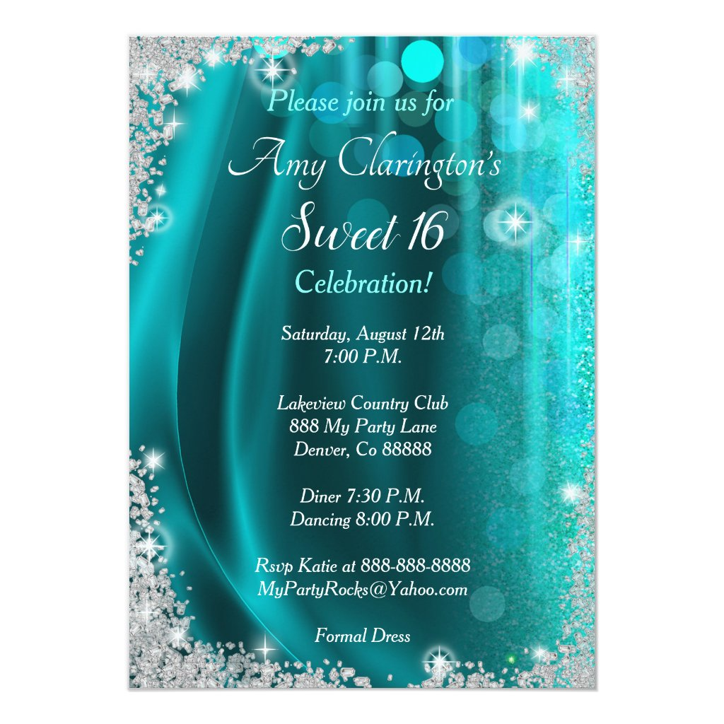 Sweet 16 Invitation Teal & Diamonds