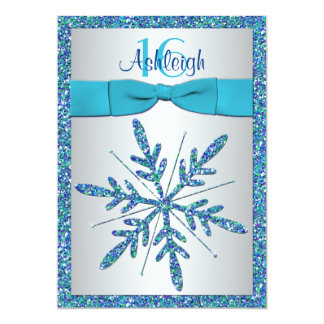 Sweet 16 Invite | PRINTED BOW | Snowflake - Blue