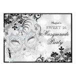 Sweet 16 Jewel Mask & Damask Silver Masquerade 4.5x6.25 Paper Invitation Card