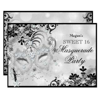 Sweet 16 Jewel Mask & Damask Silver Masquerade Card
