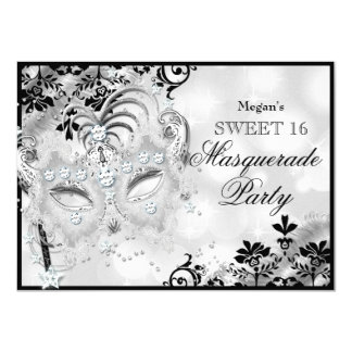 Sweet 16 Jewel Mask & Damask Silver Masquerade 4.5x6.25 Paper Invitation Card