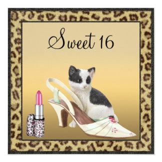 Sweet 16 Kitten, Shoe & Lipstick Gold & Black Card