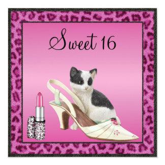 Sweet 16 Kitten, Shoe & Lipstick Pink Leopard Fur Card