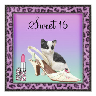 Sweet 16 Kitten, Shoe & Lipstick Purple Leopard Card