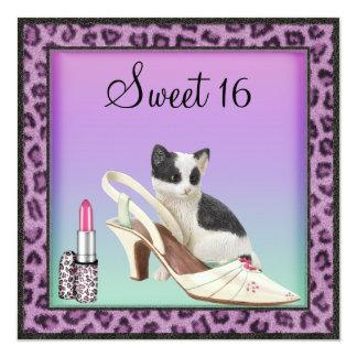 Sweet 16 Kitten, Shoe & Lipstick Purple Leopard Personalized Invites