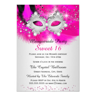 Sweet 16 Lace Mask Hot Pink Silver Masquerade 4.5x6.25 Paper Invitation Card
