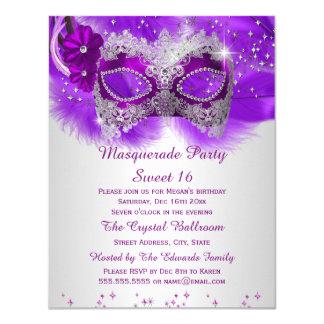 Sweet 16 Lace Mask Purple Silver Masquerade 4.25x5.5 Paper Invitation Card