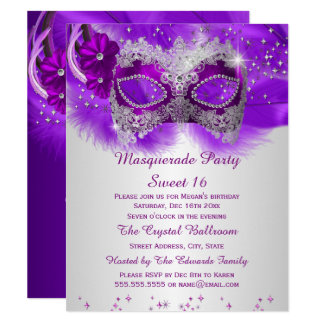 Sweet 16 Lace Mask Purple Silver Masquerade Card
