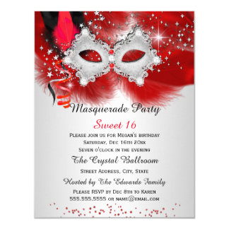 Sweet 16 Lace Mask Red Silver Masquerade 4.25x5.5 Paper Invitation Card