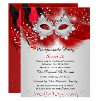 Sweet 16 Lace Mask Red Silver Masquerade Card
