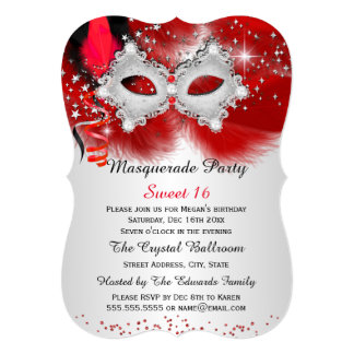 Sweet 16 Lace Mask Red Silver Masquerade 5x7 Paper Invitation Card
