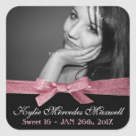 Sweet 16 Large Photo with Cute Pink Glitter Ribbon Square Sticker