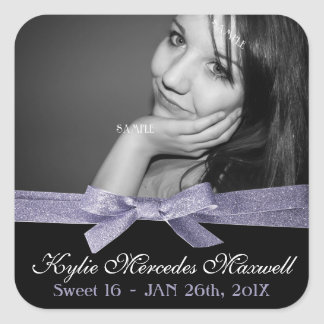 Sweet 16 Large Photo with Purple Glitter Ribbon Square Sticker