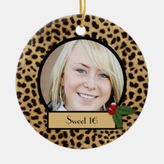 Sweet 16 Leopard Print Christmas Ornament