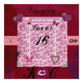 "Sweet 16 Letter K.C Invitation 5.25"" Square Invitation Card"