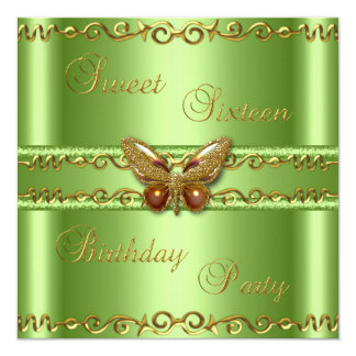 Sweet 16 Lime Green Gold Pearl Butterfly Jewel Card