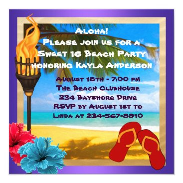 InvitationCentral Sweet 16 Luau Beach Party Card