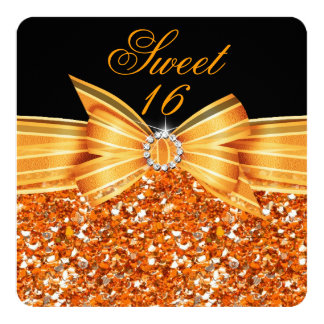 Sweet 16 Luxury Glitter Orange Gold Black Party Card