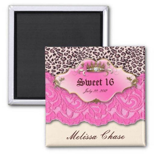 Sweet 16 Magnet Leopard Lace Pink Crown