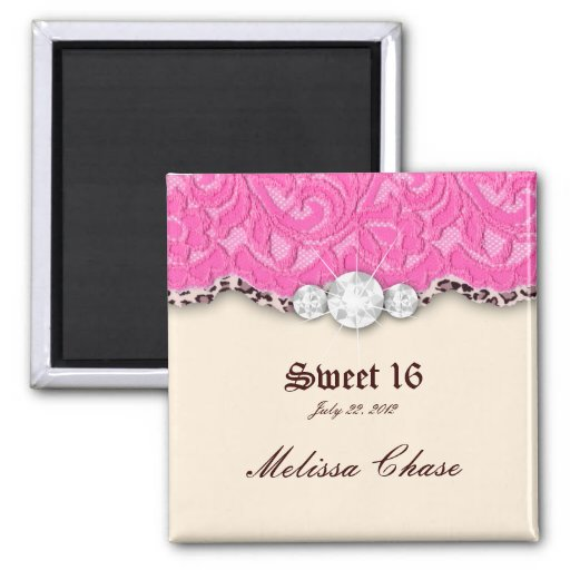 Sweet 16 Magnet Leopard Lace Pink Jewelry